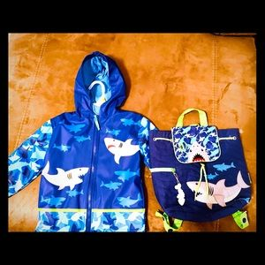 Other - Toddler Shark Raincoat/ matching backpack 3T